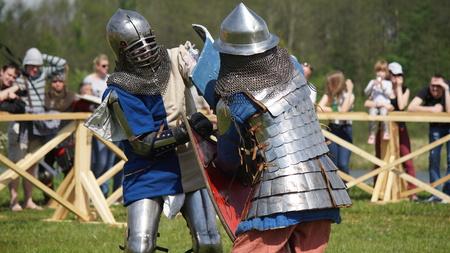 Minsk, Belarus - May 20, 2017 Battle of medieval knights