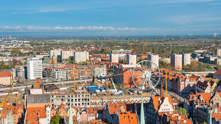 GDANSK, POLAND: Aerial panoramic view of Gdansk
