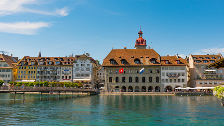 LUCERNE, SWITZERLAND - JULY 04, 2017: View of historic Lucerne city center, Switzerland. Lucerne is the most populous town in Central Switzerland, and a nexus of economics, transportation, culture, and media of this region. Editorial