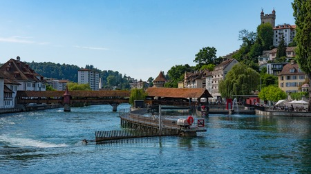 LUCERNE, SWITZERLAND: View of historic Lucerne city center, Switzerland. Lucerne is the most populous town in Central Switzerland, and a nexus of economics, transportation, culture, and media of this region.