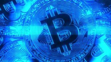 electronic commerce: Crypto currency Gold Bitcoin - BTC - Bit Coin. Macro shots crypto currency Bitcoin coins. Holomatrix style.
