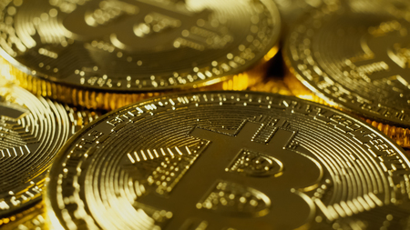 electronic commerce: Cryptocurrency Gold Bitcoin - BTC - Bit Coin. Macro shots crypto currency Bitcoin coins.