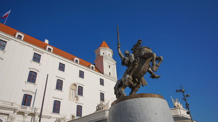 Stary Hrad - ancient castle in Bratislava. Bratislava is occupying both banks of the River Danube and River Morava