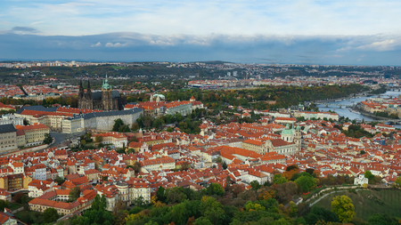 Aerial view of the Old Town architecture with red roofs in Prague , Czech Republic. Vltava river. old town panorama , Czech republic