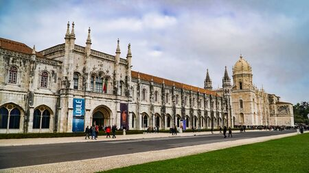 LISBON, circa 2017: Jeronimos Monastery or Hieronymites Monastery. Lisbon is continental Europes westernmost capital city and the only one along the Atlantic coast.