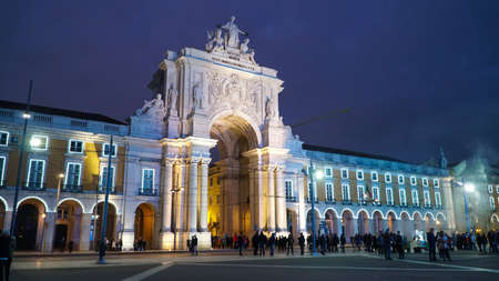 Arch of Augustus, Arc de Triomphe in Praca do Comercio Square, Lisbon, Portugal.Lisbon is continental Europes westernmost capital city and the only one along the Atlantic coast. 에디토리얼
