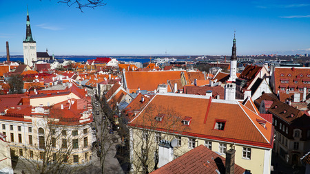 Tallinn skyline, Estonia. Aerial view of Estonia. Tallinn old town, Estonia.. Tallinn is situated on the northern coast of the country, on the shore of the Gulf of Finland in Harju County. Tallinns Old Town is one of the best preserved medieval cities in Europe.