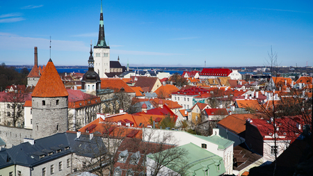 Tallinn skyline, Estonia. Aerial view of Estonia. Tallinn old town, Estonia.. Tallinn is situated on the northern coast of the country, on the shore of the Gulf of Finland in Harju County. Tallinn's Old Town is one of the best preserved medieval cities in Europe. 스톡 콘텐츠