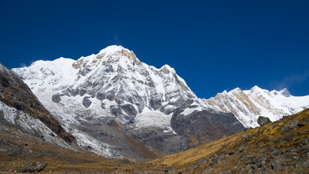 Himalayas mountain landscape in the Annapurna region. Annapurna peak in the Himalaya range, Nepal. Annapurna base camp trek. Snowy mountains, high peaks of Annapurna. Stock Photo