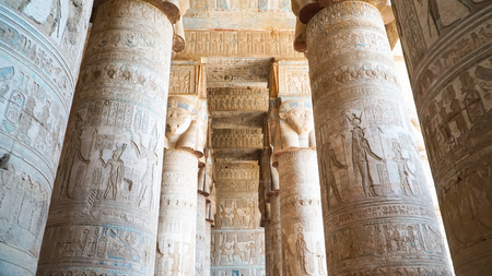 Interior of Dendera temple or Temple of Hathor. Egypt. Dendera , also spelled Denderah, is a small town and former bishopric in Egypt situated on the west bank of the Nile, about 5 kilometres south of Qena, on the opposite side of the river. It is located approximately 60 kilometres north of Luxor. It contains the Dendera Temple complex, one of the best-preserved temple sites from ancient Upper Egypt.