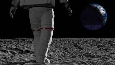 Astronauta caminando sobre la luna y admirando la hermosa Tierra. Foto de archivo
