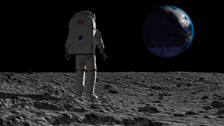 Astronaut walking on the moon and admiring the beautiful Earth.
