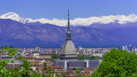 Turin Torino aerial timelapse skyline panorama with Mole Antonelliana, Monte dei Cappuccini and the Alps in the background. Italy, Piemonte, Turin. Stok Fotoğraf