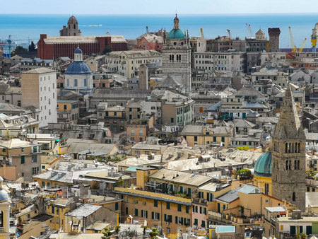 Aerial View of Old Town Genoa. Genova Skyline, Italy