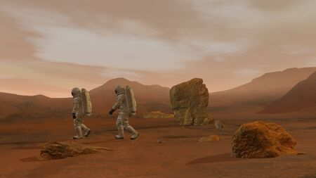 3D rendering. Colony on Mars. Two Astronauts Wearing Space Suit Walking On The Surface Of Mars. Stock fotó