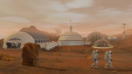 3D rendering. Colony on Mars. Two Astronauts Wearing  Suit Walking On The Surface Of Mars. Exploring Mission To Mars. Futuristic Colonization and  Exploration ConceptCG Animation. Elements of this image furnished by . Stock fotó