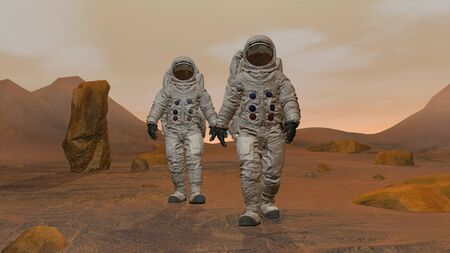 3D rendering. Colony on Mars. Two Astronauts Wearing  Suit Walking On The Surface Of Mars. Exploring Mission To Mars. Futuristic Colonization and  Exploration ConceptCG Animation. Elements of this image furnished by . Reklamní fotografie