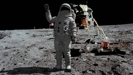 3D rendering. Astronaut walking on the moon and waving his hand. CG Animation. Elements of this image furnished by NASA Reklamní fotografie