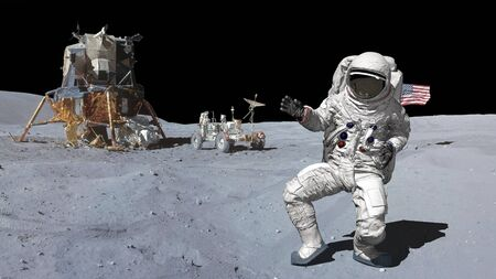3D rendering. Dancing of Astronaut on the moon.. CG Animation. Elements of this image furnished by NASA
