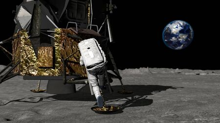 3D rendering. Astronaut walking on the moon and admiring the beautiful Earth. CG Animation. Elements of this image furnished by NASA