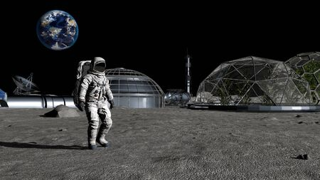 3D rendering. Sci-fi scene. The colony of the future on the moon. Astronaut walking on the moon. CG Animation. Elements of this image furnished by NASA
