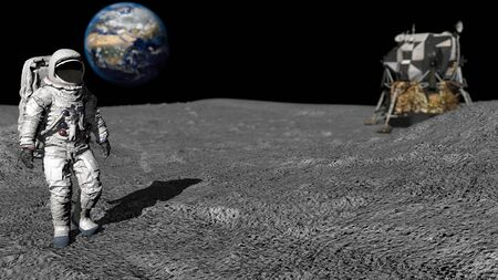 3D rendering. Astronaut walking on the moon. CG Animation. Elements of this image furnished by NASA