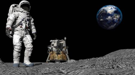 3D rendering. Astronaut walking on the moon. CG Animation. Elements of this image furnished by