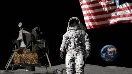 Astronaut with the American flag.
