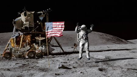 Astronaut jumping on the moon and saluting the American flag.