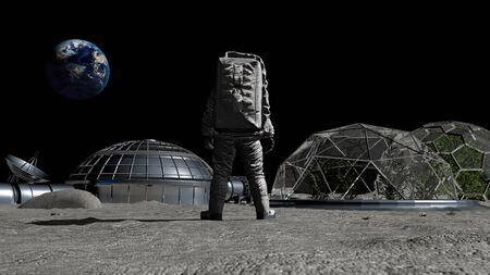 3D rendering. Sci-fi scene. The colony of the future on the moon. Astronaut walking on the moon. CG Animation. Elements of this image furnished by