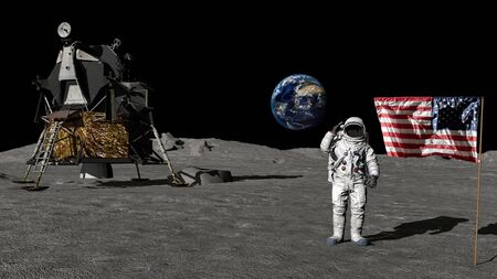 Renderowanie 3D. Astronauta pozdrawiający amerykańską flagę. Animacja komputerowa. Elementy tego obrazu dostarczone przez Zdjęcie Seryjne