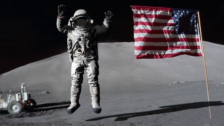 3D rendering. Astronaut jumping on the moon and saluting the American flag. CG Animation. Elements of this image furnished by