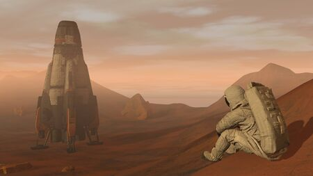 3D rendering. Colony on Mars. Astronaut sitting on Mars and admiring the scenery. Exploring Mission To Mars. Futuristic Colonization and Space Exploration Concept Stock fotó