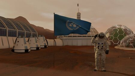 3D rendering. Colony on Mars. Astronaut saluting the UN flag. Exploring Mission To Mars. Futuristic Colonization and Space Exploration Concept