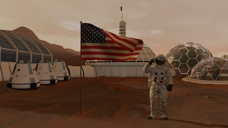 3D rendering. Colony on Mars. Astronaut saluting the American flag. Exploring Mission To Mars. Futuristic Colonization and Space Exploration Concept Stock fotó