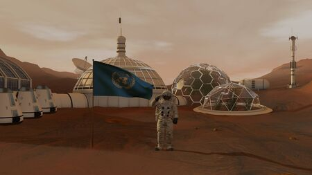 3D rendering. Colony on Mars. Astronaut saluting the UN flag. Exploring Mission To Mars. Futuristic Colonization and Space Exploration Concept Stock fotó