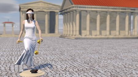 Statue of Justice, Themis, Femida with scales and a sword in his hands. 3D rendering