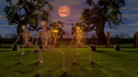Dancing skeletons in the cemetery at night. Halloween concept 3D rendering.