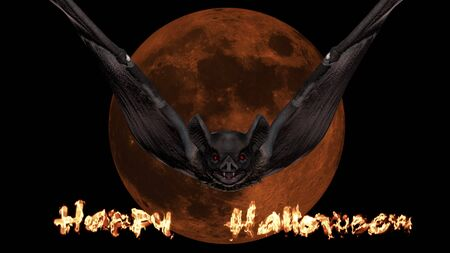 Vampire bat flying and attacking in the background of a blood red moon. Halloween concept 3D rendering.