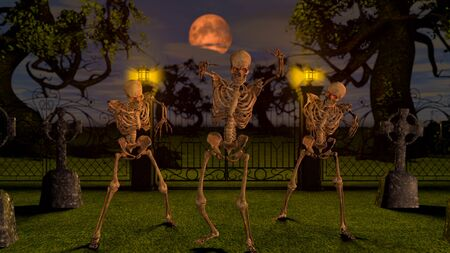 Attacking skeletons at night in the cemetery. Halloween concept 3D rendering. Banque d'images