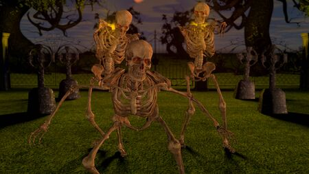 Attacking skeletons at night in the cemetery. Stock fotó