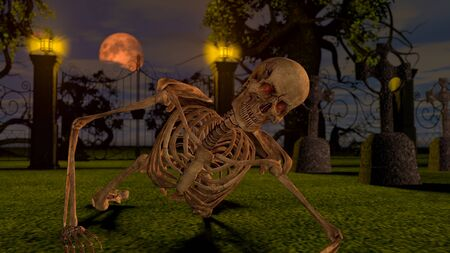 Attacking skeletons at night in the cemetery. Halloween concept 3D rendering. Stock fotó