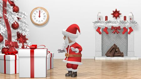 Santa Claus Pushing Gift. Merry Christmas and Happy New Year 2020 animation. Santa Claus with a Christmas gift near the Christmas tree