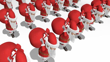Santa Claus army carries bags of gifts.