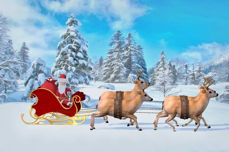 Santa Claus is riding over the forest in a sleigh with gifts.