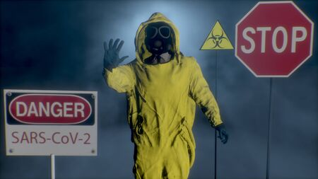 3D rendering. A man in a yellow hazmat suit makes a stop hand gesture. Coronavirus, SARS-nCOV-2, COVID-19, 2019-nCOV alert Stock Photo
