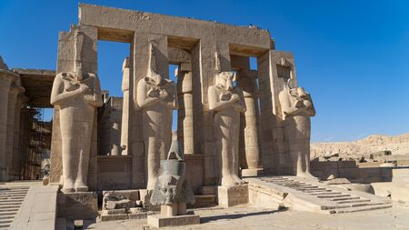 The Ramesseum is the memorial temple or mortuary temple of Pharaoh Ramesses II Ramesses the Great, also spelled Ramses and Rameses. It is located in the Theban necropolis in Upper Egypt, across the River Nile from the modern city of Luxor. Egypt.