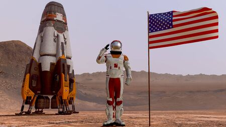 Astronaut saluting the American flag. Exploring Mission To Mars. Futuristic Colonization and Space Exploration Concept. 3d rendering. Colony on Mars. Elements of this video furnished by NASA