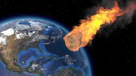 Asteroid Impact on Earth. Asteroid, comet, meteorite glows, enters the earths atmosphere. 3d rendering. Meteor Rain. Kameta tail. End of the world.