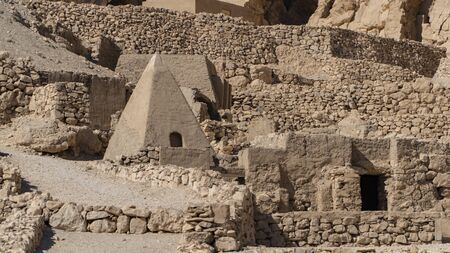 Luxor, Egypt: Deir el-Medina, is an ancient Egyptian village which was home to the artisans who worked on the tombs in the Valley of the Kings during the 18th to 20th dynasties of the New Kingdom of Egypt Stock fotó